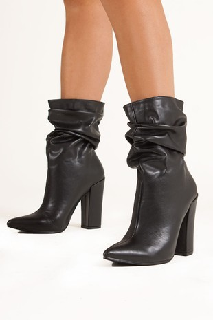 MIRANDA Black Faux Leather Ruched Sock Ankle Boots