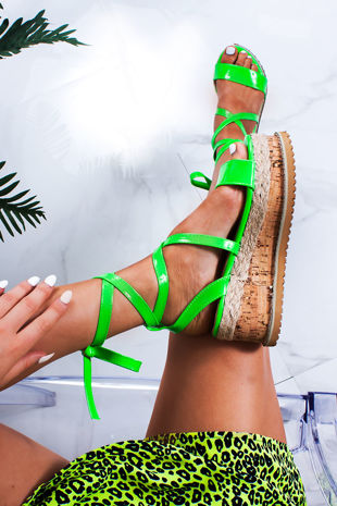 INDIGO Neon Green Wrap Up Espadrille Flatforms