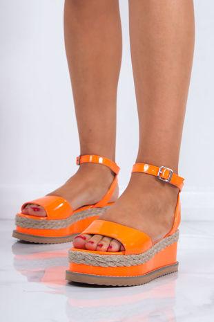 KENDALL Neon Orange Flatform Espadrille Sandals