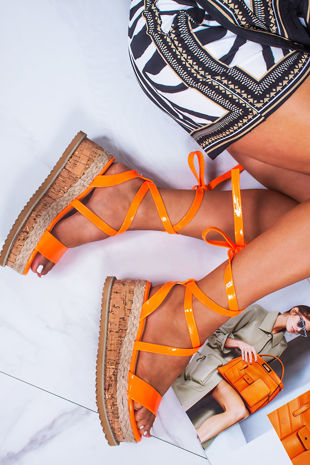 INDIGO Neon Orange Wrap Up Espadrille Flatforms