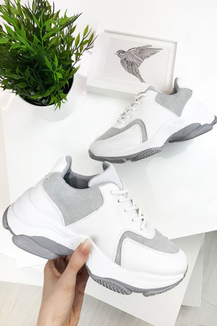 NINA Grey Chunky Sole Trainers