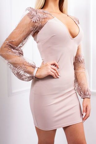 LAURIE Blush Pink Sheer Lace Puff Sleeve Bodycon Dress