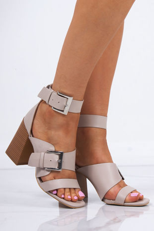 ROBERTA Nude Faux Leather Strap Block Heeled Sandals