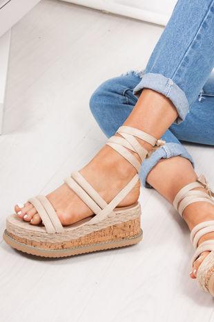1b8fc6331708 HARLOW Cream Faux Suede Wrap Up Flatform Espadrille Sandals