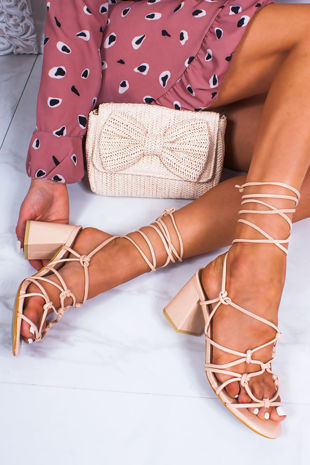 MAYA Nude Strappy Wrap Up Block Heeled Sandals