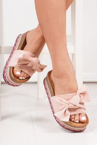 NORELLE Pink Bow Aztec Flatform Sandals