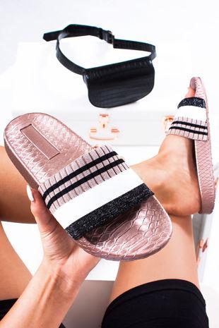 LULA Pink Croc Print Striped Strap Sliders