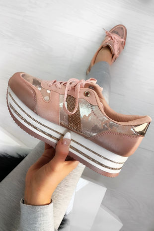 NARLA Pink Diamante Velvet Faux Suede Chunky Trainers
