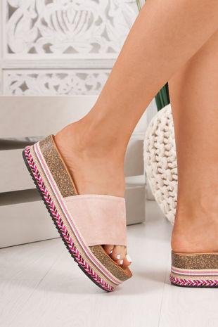PETRA Pink Strap Aztec Flatform Sandals