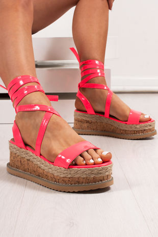 INDIGO Neon Pink Wrap Up Espadrille Flatforms
