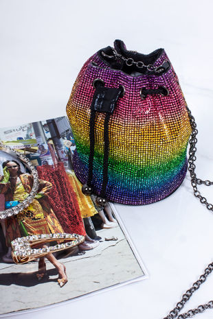RILEY Multi Diamante Bucket Bag