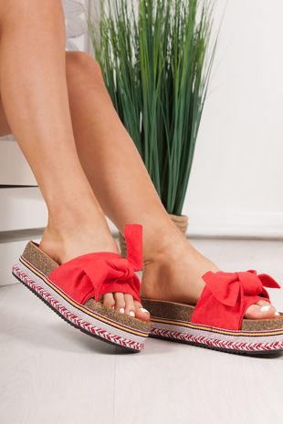 NORELLE Red Bow Aztec Flatform Sandals