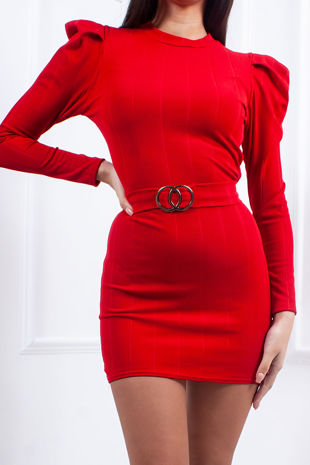 MEGAN Red Ribbed Ring Detail Tie Back Bodycon Dress
