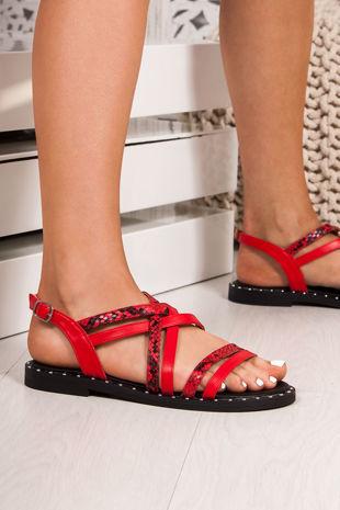 TARA Red Snake Print Cross Strap Stud Sandals