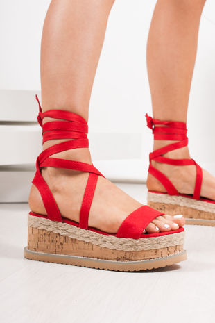 INDIGO Red Suede Wrap Up Espadrille Flatforms