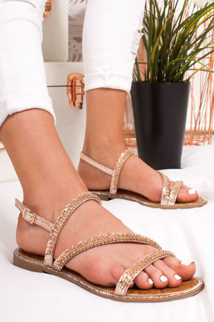 JASMINE Rose Gold Diamante Strap Flat Sandals