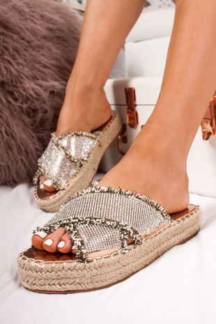 NORA Rose Gold Diamante Cross Strap Espadrille Flatform Sandals