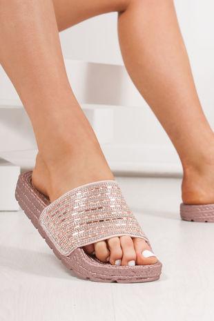 ADELINE Pink Diamante Strap Espadrille Sliders