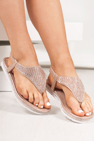 FREYA Rose Gold Diamante Detail Slip On Sandals