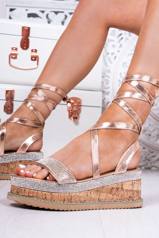 LAURIE Rose Gold Diamante Wrap Up Espadrille Flatforms