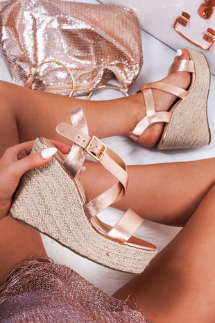 ZARA Rose Gold Strappy Espadrille Wedges