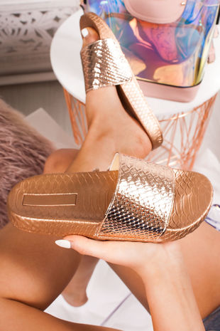 FIFI Rose Gold Croc Print Metallic Strap Sliders