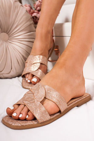 SOPHIE Rose Gold Twist Strap Sandals
