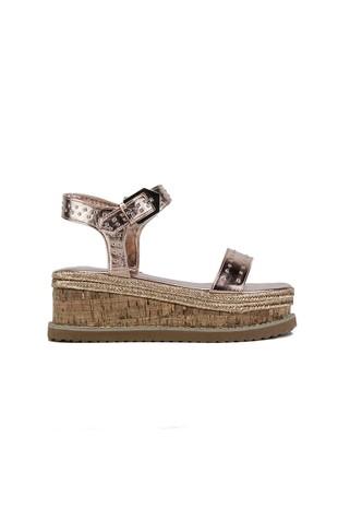 KOKO Rose Gold Flatform Sandals With Silver Detail