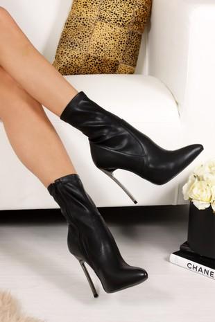 SELENA Black Faux Leather Stiletto Boots