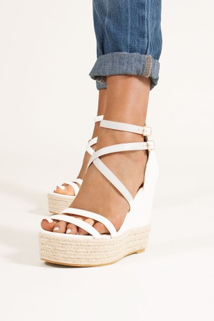 SIA White Espadrille Wedges