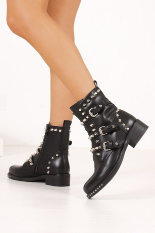 SIENNA Black Faux Leather Silver Stud Biker Boots