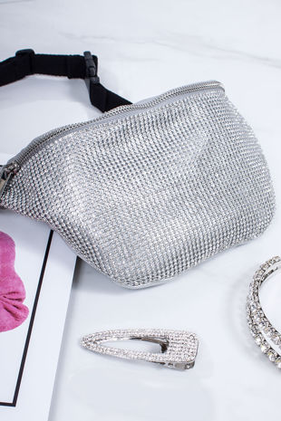 SAMMIE Silver Diamante Bum Bag