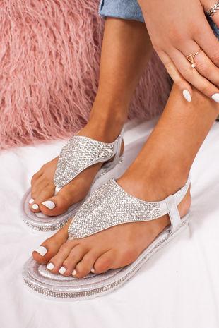 FREYA Silver Diamante Detail Slip On Sandals