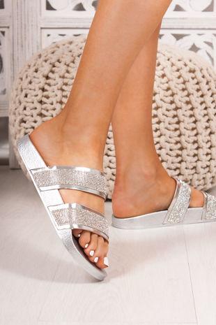 MYLA Silver Double Strap Diamante Sliders