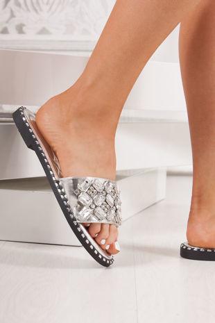 POLLY Silver Jewel Embellished Strap Sliders