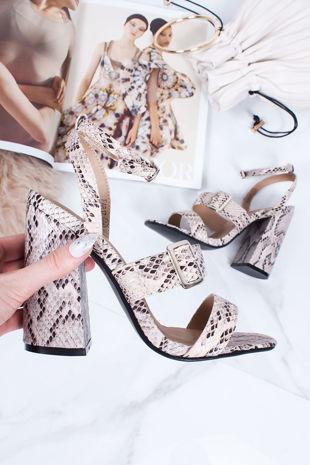 SAVANNAH Snake Strappy Block Heel Sandals