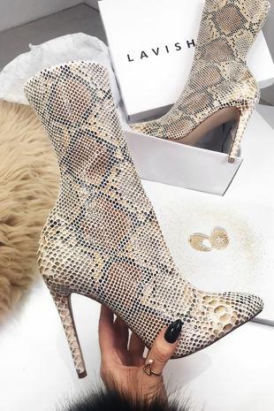 TAYLOR Snake Print Stiletto Sock Boots