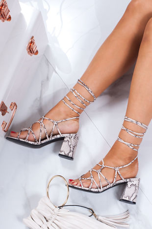 MAYA Snake Print Strappy Wrap Up Block Heeled Sandals