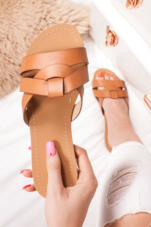HOLLIE Tan Cross Strap Mule Sandals
