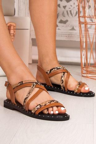 TARA Tan Snake Print Cross Strap Stud Sandals