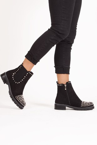 THEA Black Suede Ankle Boots With Spike Stud Details