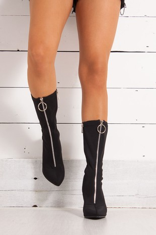 TIFFANY Black Lycra Zip Front Ankle Boots