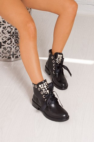 VIOLET Black Ribbon Ankle Boot With Pearl Detail