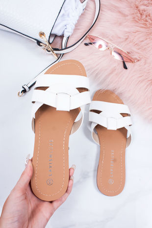 HOLLIE White Cross Strap Mule Sandals