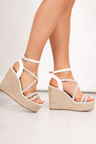 SAFFRON White Diamante Strap Espadrille Wedges