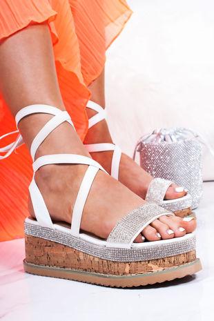 LAURIE White Diamante Wrap Up Espadrille Flatforms
