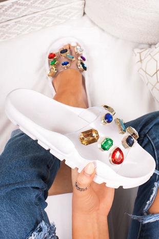 KAYLEE White Multi Jewel Embellished Strap Sliders