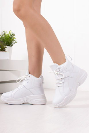 ARIA White Chunky High Top Trainers