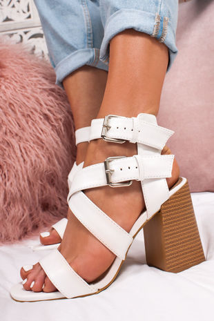 LAUREL White Cross Strap Block Heeled Sandals