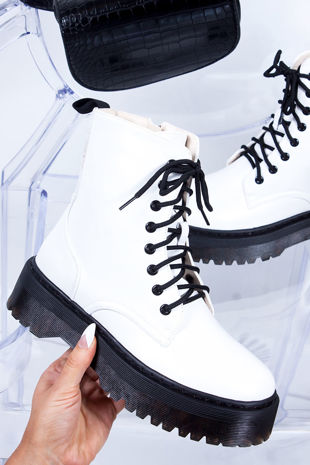 MARIANA White Matte Chunky Platform Lace Up Ankle Boots